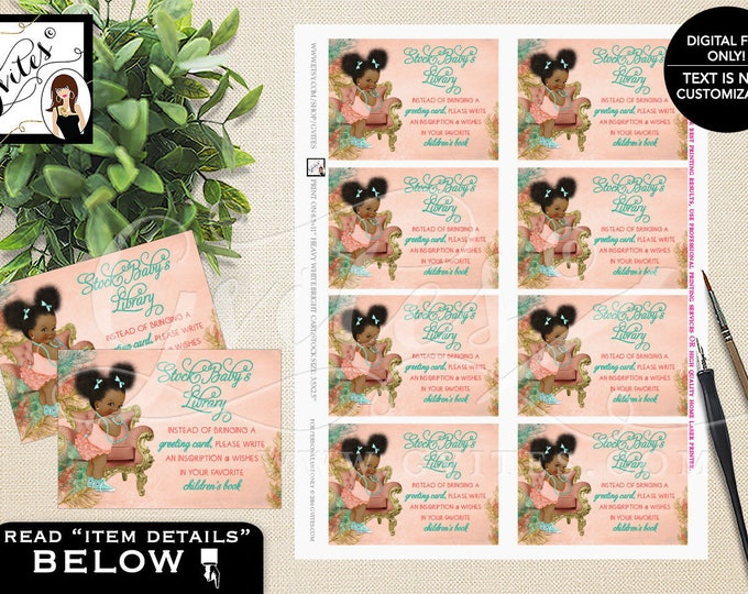 "Stock baby library, book request coral mint green and gold ethnic baby girl, raffle ticket games. PRINTABLE 3.5x2.5"" 8/Sheet."