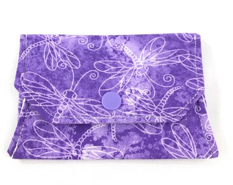 Purple dragonfly snap wallet // notions pouch // slim pouch // slim wallet // coin purse // gift card holder // pill box // origami wallet