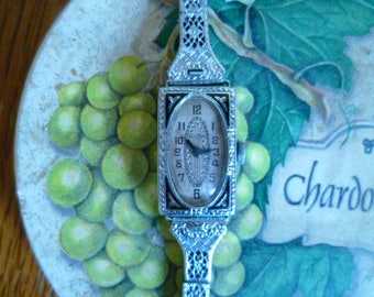 art deco ladies bulova watch, enamel watch, silver tone watch, vintage watch