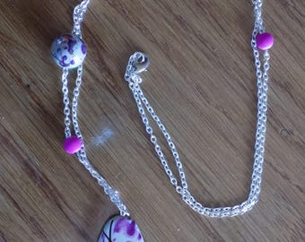 Necklace silver and purple pendant