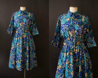 vintage 1980s dress / 80s does 50s floral shirtwaist dress / medium / Spring Blues Dress