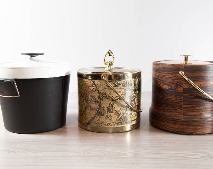 Vintage Ice Bucket / Choose from Black and White, World Map, or Faux Wood and Gold / Mid Century Modern Barware Serving Bucket