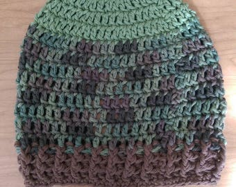 100% Cotton Green, Brown, and Camo Crochet Beanie