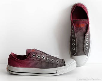 Grey to raspberry red ombré dip dye Converse, slip-on sneakers, tie dye trainers, transformed vintage shoes, EU 39 (UK 6, us wo 8, us men 6)