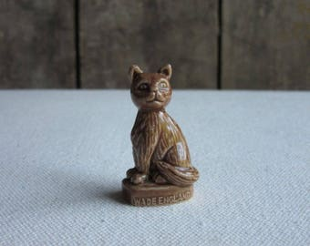 Vintage English Wade Whimsies Brown Cat, Wade England, Pet Shop Series, Red Rose Tea Cat, Miniature Animal Figurine, Wade Pottery Brown Cat