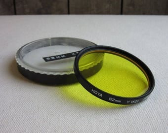 Vintage Hoya Yellow Y K2 62mm Glass Lens Filter, BW Film Photography, Black and White Contrast, Special Effects, 62mm Lens, 35mm, Camera,SLR