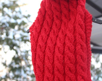 Red wool cable knit fisherman's dog sweater