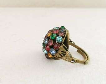 Antique Multi Color Rhinestone Adjustable Ring  Size 8 Without Adjustments