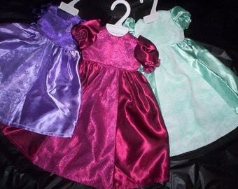 "A.G. 18"" DOLL Dress .. SATIN with lace or Sheer floral insert ** Fits all 18"" dolls! Preemies too!"