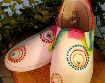 Hand Painted Artisan Sneakers Rainbow with Gems