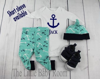Baby Boy Coming Home Outfit,Personalized Onesie,Baby Leggings,Baby Hat,Boys Leggings Hat,Hospital,Anchor,Sailing,Boat,Fish,Baby Gift,Go Home