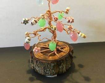 COPPER wire 'Bonsai' Tree with glass, pastel beads