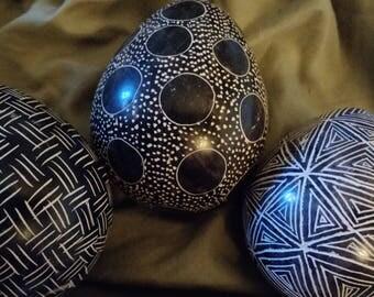 Kenyan Stone Egg Set - black stone white carving African art