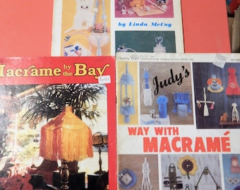 Three vintage macrame booklets - Much Ado About Knotting, Judy's Way With Macrame and Macrame by the Bay