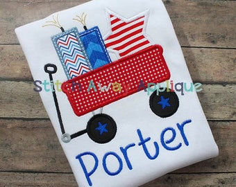 Personalized 4th of July Patriotic Wagon Applique Shirt or Onesie Boy or Girl