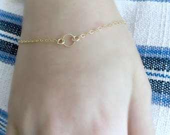 14k gold filled eternity ring bracelet,gold ring bracelet,circle bracelet,gold circle bracelet,karma jewelry,minimalist,modern,bridesmaid