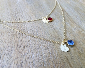 layered initial necklace heart necklace personalized letter necklace monogram necklace monogram jewelry birthstone necklace heart jewelry