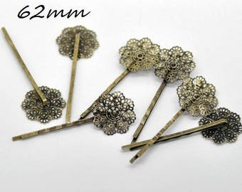 X 1 Barrette filigree bronze antique 62 m