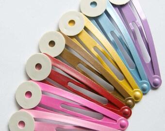 X 2 hair clips set clap Brown blank 50mm