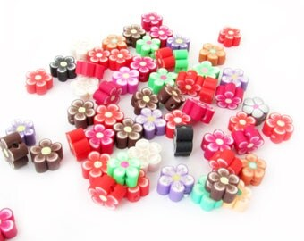 X 10 mix 8-10mm fimo flower beads