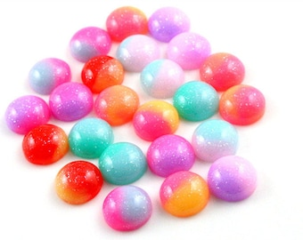 X 10 Cabochons mix color resin 12mm