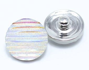 Snap resin white shiny 18mm