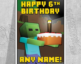 PERSONALISED BIRTHDAY CARD - Zombie Cake - Minecraft themed