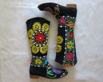 Embroidered Boots Vintage | Vintage Velvet Boots | Penny Lane Boots | Size 38 Boots
