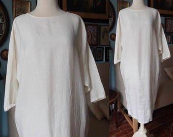 Vintage 1990's Dennis Goldsmith minimalist linen sheath dress pointelle avant garde city artist smock cream