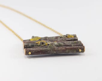 Latvian Birch wood Pendant in golden chain. Eco friendly. Handmade in Latvia for Nature lovers.