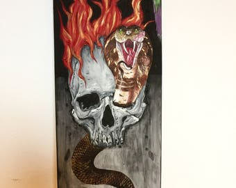 Flaming Skull Cobra broken painted skate deck....