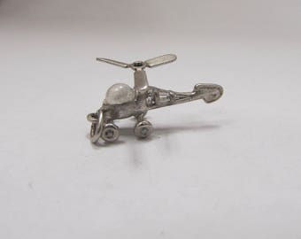 Vintage Sterling Silver Moveable Helicopter Charm W #121