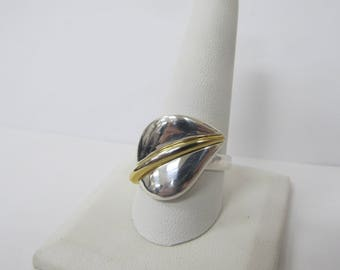 RLM STUDIOS 925 Sterling Silver and Brass Accented Leaf Ring W #514