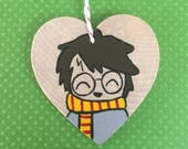 HARRY POTTER ORNAMENT- Christmas Decoration, Hand Painted Wooden Holiday Decor, Geeky Fandom Inspired Art, Kawaii Gift