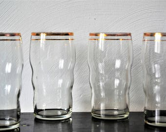 ANTIQUE GLASSES Water Glasses Gold Rims Set of 10 Water or Juice Glasses
