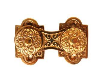 Victorian Brass Swivel Surface Catch with Knobs Hardware for Cabinet Restoration