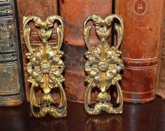 Antique Pair French Bronze Ormolu Rectangular Rosettes Hardware Ornate Acanthus Design