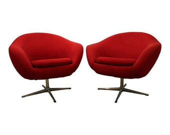 Mid-Century Lounge Chair Danish Modern Overman Chrome Swivel Chairs - A Pair