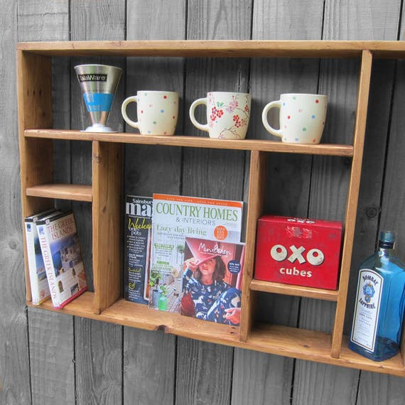 Rustic Pine Open Wall Shelving Display Storage Modernsit