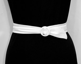 Genuine Leather Belt, Vintage ASTOR Adjustable Length White Waist Cincher, Dress Accessories