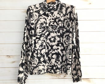 Summer Sale Vintage Black White Silk Floral Turtleneck Blouse Women's Large