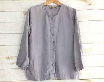 Vintage L.L. Bean Dusty Purple 100% Linen 3/4 Sleeve Blouse Women's XS