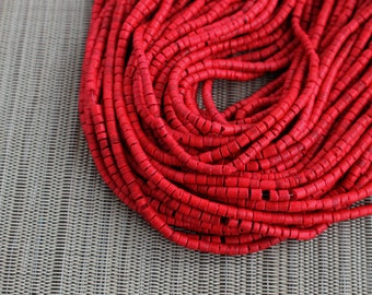 3-4mm Cayenne Red - Coconut Shell Heishi Beads - Dyed and Waxed - 23 inch strand