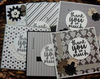 6 Thank You Greeting Cards/Blank Inside Greeting Cards / Greeting Card Set / Greeting Card Pack