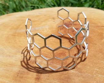 Honeycomb Cuff Bracelet in 100% Recycled Sterling Silver