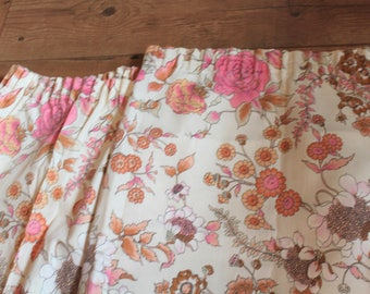 1950s Pink Floral Curtains.  Authentic Vintage  Mid Century Modern