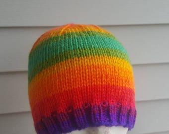 Knit woman's beanie, knit hat, winter hat, beanie (favorite stripe)