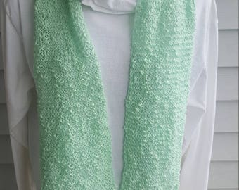 cotton light weight flowing scarf, lacey scarf, woman's scarf (mint green)
