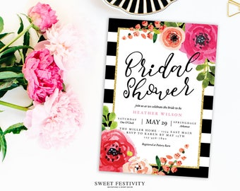 Bridal Shower Invitation, Black and White Striped Bridal Shower, Pink Floral Bridal Shower, Kate, Wedding Shower, Printable Invitation