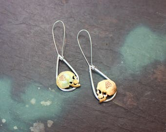 Grateful Dead / Skull and roses silver brass earrings / sugar skull / day of dead / halloween jewelry handmade